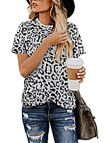 cheap -women& #39;s casual leopard print tops basic cute t-shirts short sleeve round neck for women soft blouse tees