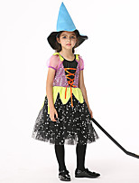 cheap -Witch Dress Cosplay Costume Outfits Kid's Girls' Cosplay Halloween Halloween Festival / Holiday Tulle Mesh Purple Easy Carnival Costumes / Hat / Hat