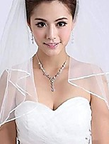 cheap -two layers short bridal veil with comb ribbon edge white ivory bride wedding accessories & #40;ivory& #41;