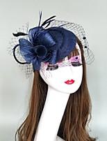 cheap -Feathers / Net Fascinators / Hats / Headpiece with Cap / Floral 1 Piece Wedding / Party / Evening Headpiece