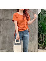 cheap -Women's T-shirt Solid Colored Drawstring Round Neck Tops Cotton Basic Basic Top Black Orange