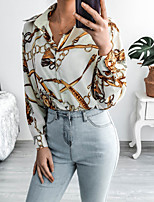 cheap -Women's Blouse Shirt Abstract Long Sleeve Button Print Shirt Collar Tops Basic Basic Top Beige