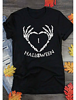 cheap -Women's Halloween Shirt Graphic Prints Letter Print Round Neck Tops 100% Cotton Basic Halloween Basic Top Black