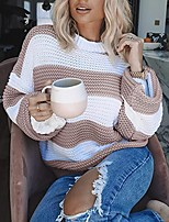 cheap -Women's Knitted Striped Sweater Long Sleeve Sweater Cardigans Crew Neck Fall Blushing Pink Green Gray