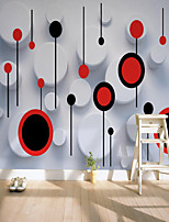 cheap -Custom Self Adhesive Mural Wallpaper Art Red And White Circle Suitable For Bedroom Living Room Coffee Shop Restaurant Hotel Wall Decoration Art Wall Cloth Room Wallcovering