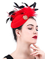 cheap -Queen Elizabeth Audrey Hepburn Retro Vintage 1950s 1920s Kentucky Derby Hat Pillbox Hat Women's Costume Hat Red Vintage Cosplay Party Prom