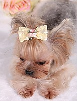 cheap -bling rhinestone luxury pet puppy dog cat hairpin hair bows tie dog lace hair clips pet dog grooming pet hair accessories pack of 2 yellow