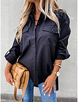 cheap -Women's Blouse Shirt Solid Colored Long Sleeve Patchwork Shirt Collar Tops Loose Basic Basic Top White Black
