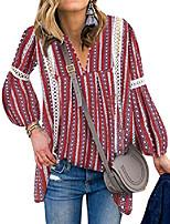 cheap -women bohemian short sleeve v neck floral print peplum shirt top blouse tee (xl, red)