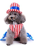 cheap -Dog Halloween Costumes Costume Shirt / T-Shirt Stripes National Flag Fashion Cute Christmas Party Dog Clothes Breathable Blue Costume Polyester S M L XL