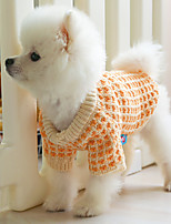 cheap -Dog Coat Sweater Color Block Casual / Daily Cute Casual / Daily Winter Dog Clothes Warm Orange Costume Polyster XS S M L XL