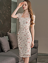 cheap -Sheath / Column Vintage Boho Homecoming Graduation Dress Scoop Neck Short Sleeve Knee Length Cotton with Pattern / Print 2020