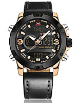 cheap -genuine brown leather band analog digital led dual time display outdoor sport watch mens watch