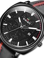 cheap -SWISH Men's Sport Watch Quartz Modern Style Sporty Casual Water Resistant / Waterproof Leather Black / Brown Analog - Black / Silver Black+Gloden Black / Stainless Steel