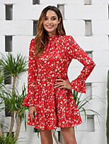 cheap -Women's Swing Dress Short Mini Dress - Long Sleeve Floral Ruffle Ruched Patchwork Summer Casual Slim 2020 Red S M L XL / Print