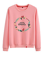 cheap -Women's Sweatshirt Womens Pullover Sweatshirts Black White Pink Cartoon Crew Neck Cotton Cute Letter Printed Sport Athleisure Pullover Long Sleeve Breathable Warm Soft Comfortable Everyday Use Causal