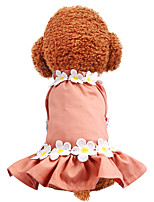 cheap -Dog Dress Flower Party Cute Christmas Party Dog Clothes Breathable Red Blue Costume Polyster XS S M L XL
