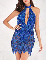 cheap -Women's A-Line Dress Short Mini Dress - Sleeveless Solid Color Backless Sequins Tassel Fringe Summer Halter Neck Sexy Party Club 2020 Blue Gold S M L XL