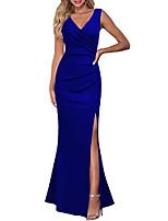 cheap -women sleeveless v neck split evening cocktail long dress royal blue