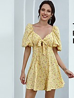 cheap -Women's A-Line Dress Short Mini Dress - Short Sleeve Floral Bow Ruched Print Summer V Neck Casual Puff Sleeve 2020 Yellow S M L