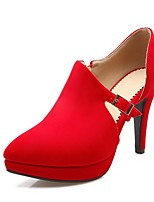 cheap -Women's Heels Stiletto Heel Pointed Toe Classic Daily Solid Colored Nubuck Black / Red