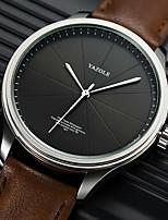cheap -YAZOLE Men's Sport Watch Quartz Sporty Stylish Casual Water Resistant / Waterproof Analog Black / Silver Black Brown / Genuine Leather / Genuine Leather