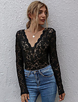 cheap -Women's Blouse Solid Colored Long Sleeve Lace Cut Out V Neck Tops Slim Basic Basic Top Black
