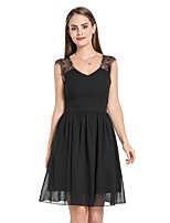 cheap -Women's Swing Dress Knee Length Dress - Sleeveless Solid Color Lace Backless Patchwork Fall V Neck Sexy Party Club Slim 2020 Black S M L XL XXL