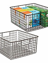 "cheap -farmhouse decor metal wire food storage organizer bin basket with handles - for kitchen cabinets, pantry, bathroom, laundry room, closets, garage - 12"" x 9"" x 6"" - 2 pack - bronze"