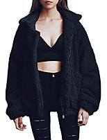 cheap -women's coat casual fleece fuzzy faux shearling button down warm winter outwear jackets 0214 wine red xl