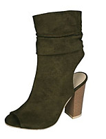 cheap -Women's Sandals Wedge Heel Peep Toe Roman Shoes Daily Solid Colored PU Black / Green / Brown