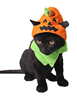 cheap -Dog Cat Halloween Costumes Bandanas & Hats Pumpkin Unique Design Cool Christmas Party Dog Clothes Breathable Yellow Costume Plush One-Size