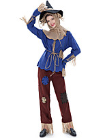 cheap -Scarecrow Cosplay Costume Outfits Adults' Women's Cosplay Halloween Halloween Festival / Holiday Polyester Blue Women's Easy Carnival Costumes / Top / Pants / Headpiece / Gloves / Belt