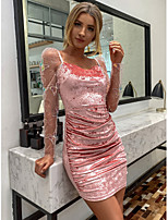 cheap -Women's Sheath Dress Short Mini Dress - Long Sleeve Solid Color Ruched Mesh Summer Fall Elegant Sexy Party Going out 2020 Blushing Pink S M L