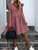 cheap -Women's A-Line Dress Knee Length Dress - Sleeveless Polka Dot Ruffle Summer V Neck Formal 2020 Blue Blushing Pink Green S M L XL XXL 3XL