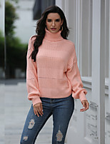 cheap -Women's Basic Knitted Hollow Out Solid Color Plain Pullover Acrylic Fibers Long Sleeve Loose Sweater Cardigans Turtleneck Fall Winter Black Blushing Pink Beige