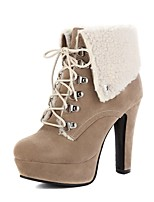 cheap -Women's Boots Wedge Heel Round Toe Classic Daily Solid Colored Nubuck Booties / Ankle Boots Camel / Black / Purple