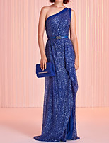 cheap -Sheath / Column Beautiful Back Sexy Party Wear Formal Evening Dress One Shoulder Sleeveless Sweep / Brush Train Sequined with Sash / Ribbon Sequin 2020