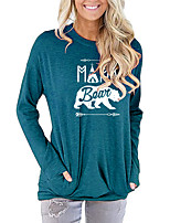 cheap -Women's T-shirt Animal Letter Long Sleeve Print Round Neck Tops Batwing Sleeve Loose Basic Basic Top Black Blushing Pink Green