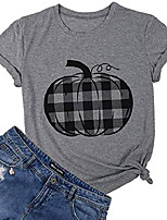cheap -pumpkin shirt top women halloween buffalo check pumpkin plaid pattern graphic print t shirt tee size s (gray)