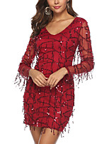 cheap -Women's A-Line Dress Short Mini Dress - Long Sleeve Solid Color Sequins Zipper Summer V Neck Sexy Party Club 2020 Wine S M L XL XXL