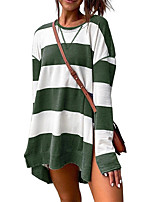 cheap -Women's Daily Pullover Sweatshirt Striped Oversized Basic Hoodies Sweatshirts  Loose Oversized Black Blue Green