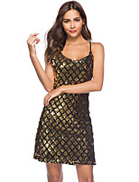 cheap -Women's Strap Dress Knee Length Dress - Sleeveless Print Sequins Print Summer Boat Neck Sexy Party Club Slim 2020 Gold S M L XL