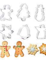 cheap -Christmas Cookie Cutter Stainless Steel Cut Candy Biscuit Mold Cooking Tools Christmas Theme Metal Cutters Mould Snowflake Snowm