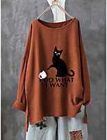 cheap -Women's Blouse Shirt Cat Animal Letter Long Sleeve Print Round Neck Tops Loose Basic Basic Top Yellow Wine Green