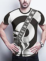 cheap -Men's Daily Plus Size T-shirt Graphic Print Short Sleeve Tops Basic Round Neck Black / Sports