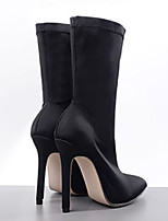 cheap -Women's Boots Stiletto Heel Pointed Toe Basic Daily Solid Colored Elastic Fabric Booties / Ankle Boots Almond / Black