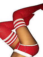 cheap -Women's Warm Stockings - Striped / Sexy Lady / Christmas 200D White Black Red One-Size