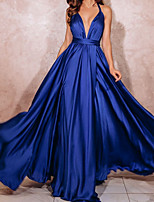 cheap -A-Line Minimalist Sexy Wedding Guest Formal Evening Dress V Neck Sleeveless Sweep / Brush Train Stretch Satin with Pleats 2020