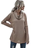 cheap -Women's Basic Solid Color Plain Pullover Long Sleeve Sweater Cardigans Cowl Spring Fall Army Green Khaki